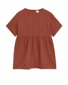 Locker sitzendes Musselin-Kleid Terrakotta