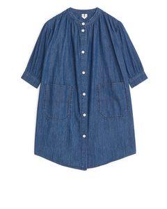 Jeanskleid mit Knöpfen Dunkelblau