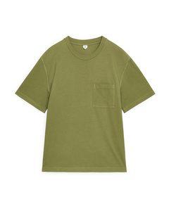 Stückgefärbtes T-Shirt Grün