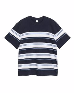 Oversize-T-Shirt aus Bouclé Marineblau/gestreift