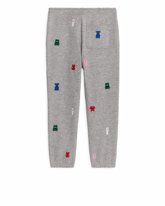 Arket Monster Embroidery Sweatpants Grey