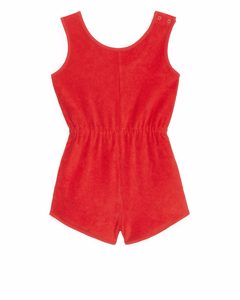 Cotton Towelling Playsuit Red