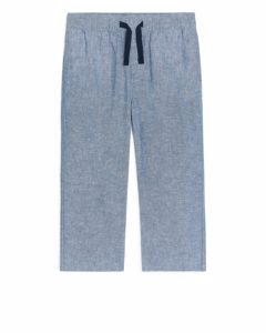Loose Pull-on Trousers Light Blue