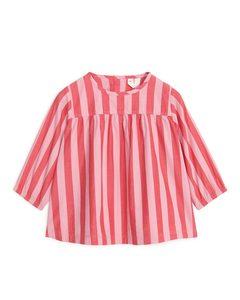 Striped Poplin Dress Pink