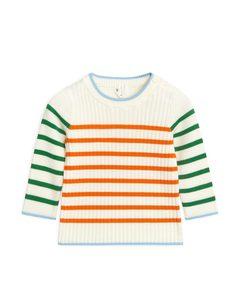 Pima Cotton Jumper Off White/orange