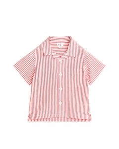 Seersucker Baby Resort Shirt Red/white
