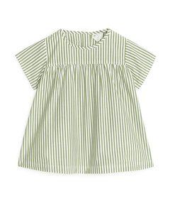 Striped Poplin Dress Green/stripe