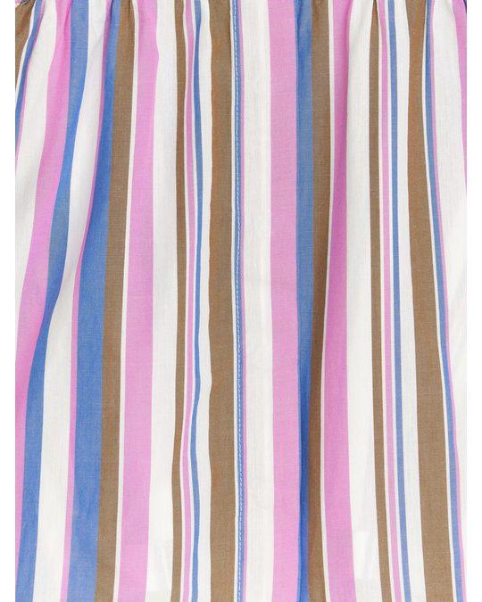Arket Gestreiftes Popeline-Kleid Blau/Rosa
