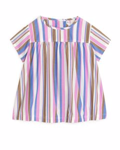 Striped Poplin Dress Blue/pink