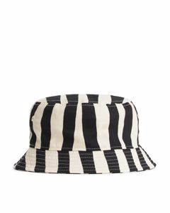 Striped Bucket Hat Beige/black