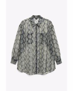 Transparentes Oversize-Shirt Schlangen-Print