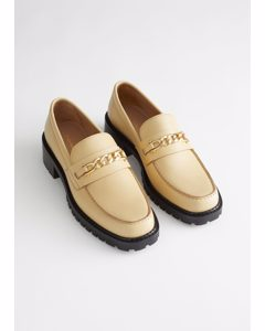 Rope Chain Leather Loafers Light Beige