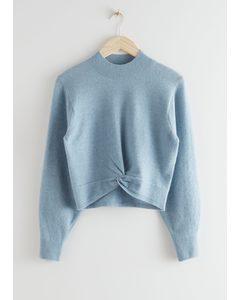 Twist Detail Knit Sweater Light Blue