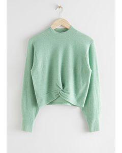 Twist Detail Knit Sweater Light Green