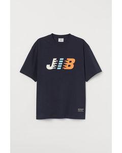 T-shirt I Kraftig Bomullstrikå Mörkblå/jib