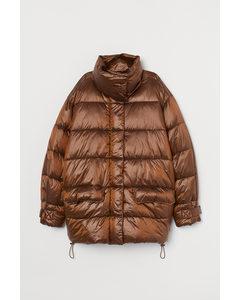 Puffer Jacket im Metallic-Look Braun