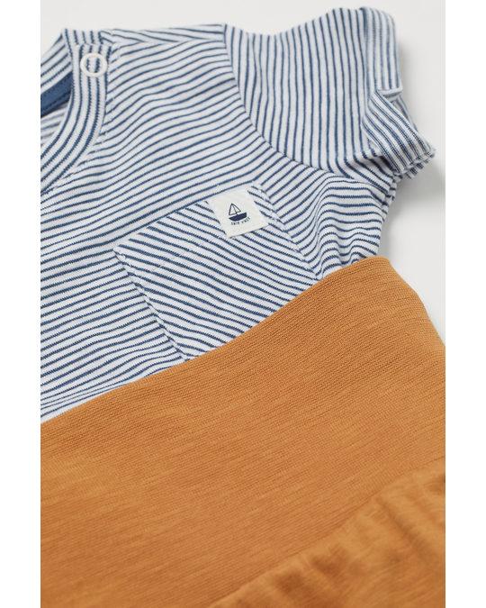 H&M 2-delat Trikåset Blå/randig