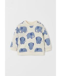 Sweatshirt I Bomull Naturvit/elefanter