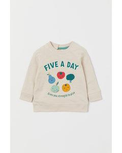 Sweatshirt Med Applikation Ljusbeige/frukter