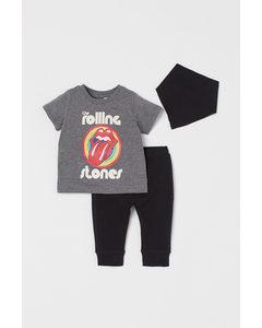 3-piece Jersey Set Dark Grey/the Rolling Stones