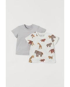 2er-Pack T-Shirts aus Jersey Hellgrau/Tiere