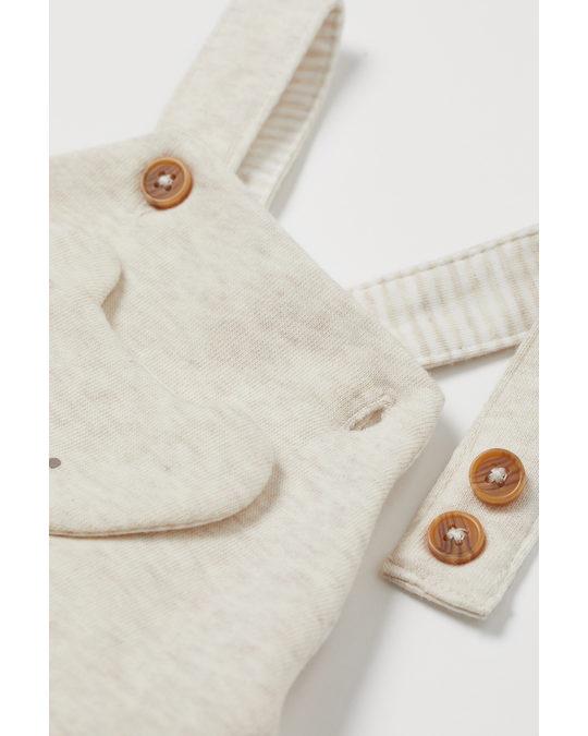 H&M Hängselbyxa Ljus Beigemelerad/koala