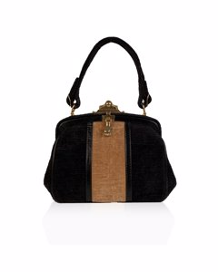 Roberta Di Camerino Vintage Brown Beige Velvet Framed Handbag