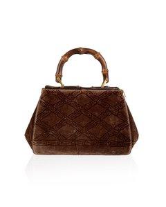 Roberta Di Camerino Vintage Brown Velvet Bamboo Handle Handbag