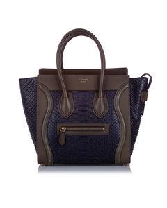 Celine Mini Luggage Python Tote Bag Brown