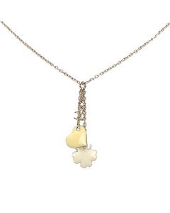 Chanel Cc Clover Heart Pendant Necklace Gold