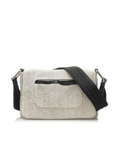 Prada Wool Shoulder Bag White