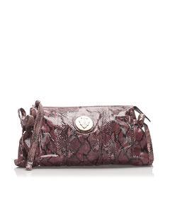 Gucci Hysteria Python Leather Clutch Bag Purple