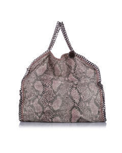 Stella Mccartney Falabella Python Fold-over Tote Brown