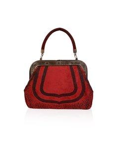 Roberta Di Camerino Vintage Red Cut Out Velvet Framed Handbag