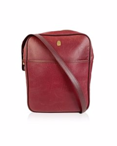 Must De Cartier Vintage Burgundy Leather Messenger Bag