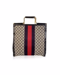 Gucci Vintage Blue Canvas Tote Bag Mod: Tote Bag