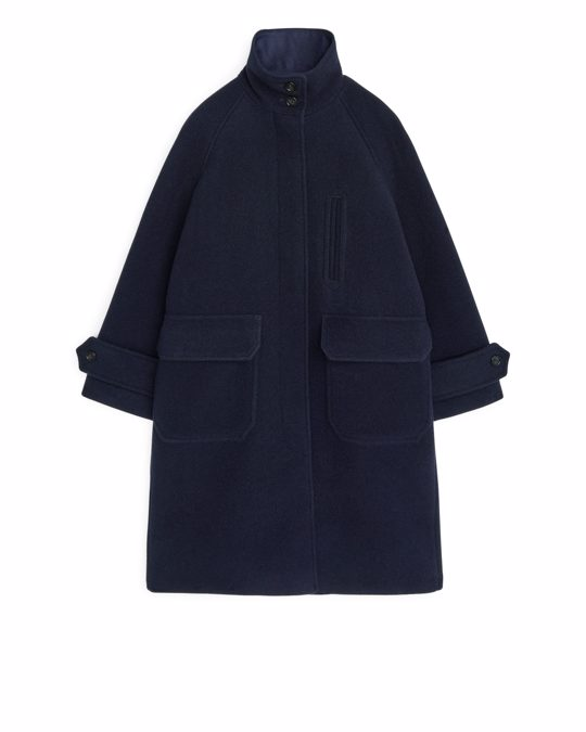 Arket A-line Wool Coat Dark Blue