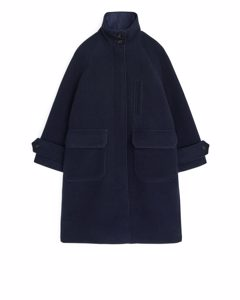 A-line Wool Coat Dark Blue