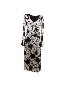 Blumarine Black White Floral Sheath Dress Wrap Style Size S