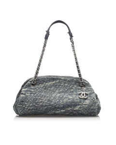 Chanel Camellia Mademoiselle Denim Shoulder Bag Blue
