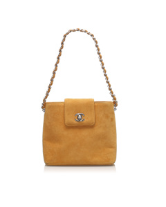Chanel Cc Suede Handbag Orange