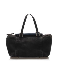Fendi Raddica Suede Handbag Black