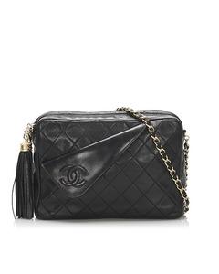 Chanel Matelasse Lambskin Chain Shoulder Bag Black
