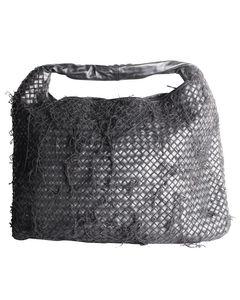 Schwarze Intrecciato-Hobo-Tasche mit Fransen