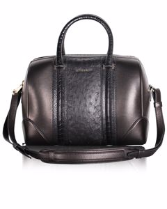 Black Lucrezia Medium Calfskin And Ostrich Leather Bag