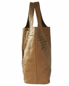 Brown Perforated Leather Regent Tote Bag
