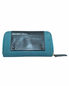 Teal Green Zip Around Leather Wallet