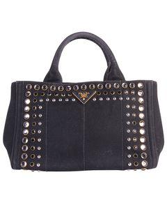 Black Canvas Nietenbesetzte Einkaufstasche