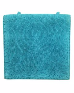 Blue Suede Embossed Mini Bag