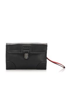 Bottega Veneta Intrecciato Perforated Leather Clutch Bag Black